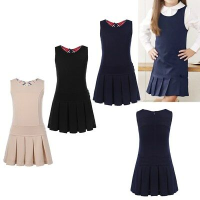 School Girls Uniform Jumper Kids Pinafore Pleated Dress Sleeveless Party Casual