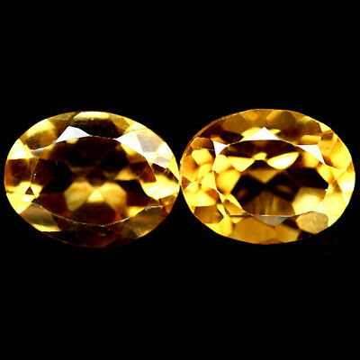 3.21 CT VVS NATURAL PAIR GOLDEN YELLOW BRAZIL CITRINE OVAL 7 X 9 mm.