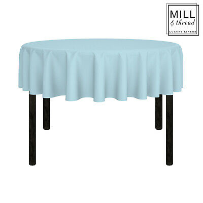 """70"""" Round Wedding Banquet Polyester Fabric Tablecloth - Baby Blue"""