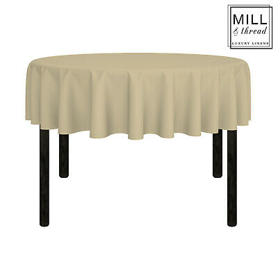 """70"""" Round Wedding Banquet Polyester Fabric Tablecloth - Beige"""
