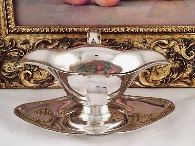 Antique POTOSI SILVER Co Twin Handled Double Ended Silver Plated Gravy Boat