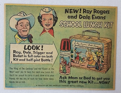 1953 ROY ROGERS DALE EVANS Lunch Kit cartoon ad ~ lunchbox, thermos