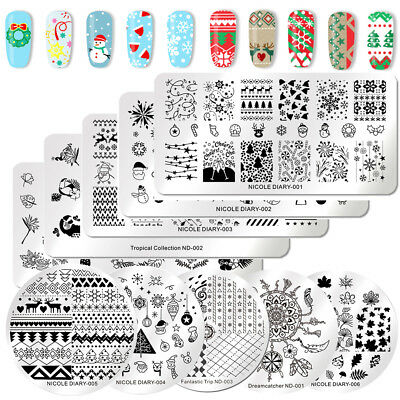 NICOLE DIARY Nagel Stamping Schablonen Stempel Christmas Theme Flowr Nail Art