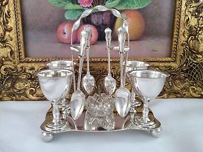 Superb Antique Victorian Silver Plated 11 Piece Egg Cruet Set DEYKIN & SON c1890