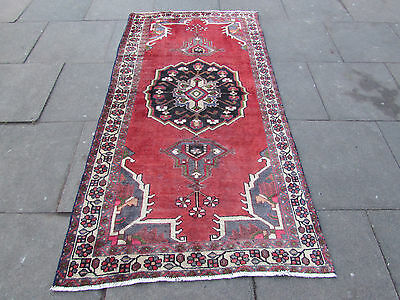 Old Shabby chic Traditional Hand Made Persian Oriental Wool Red Rug 220x115cm