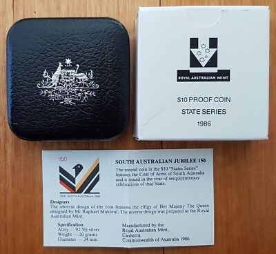 1986 South Australia State Series $10 Proof Sterling Silver Coin in RAM Pack