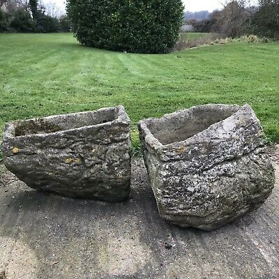 A Pair Of Antique Stone Planters