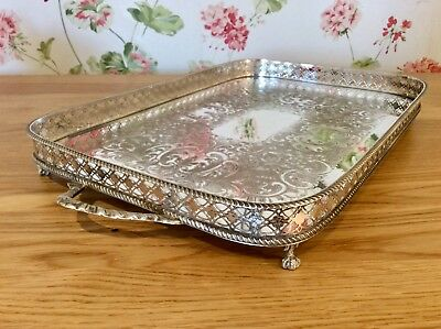 "Superb Antique Sheffield 22"" Chased Silver On Copper Footed Gallery Tray C1900"