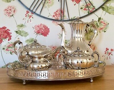 Superb VINERS Of SHEFFIELD Pumpkin Form Silver Plated 4 Pc Tea Set & Tray 5.3 Kg
