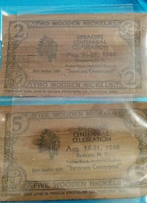 Impressive 1948 Lot Two Wooden Nickels Syracuse Centorama