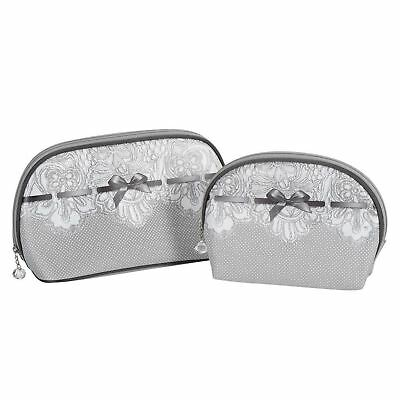 Mathilde M Set Of 2 Toiletry Bags Make Up Pouch Cosmetic Travel Case Dentelle