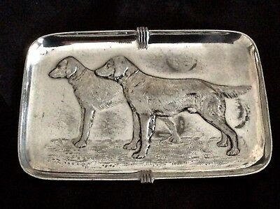 Rare WMF Ostrich Mark German Art Nouveau Silvered Pewter Calling Card Tray C1905
