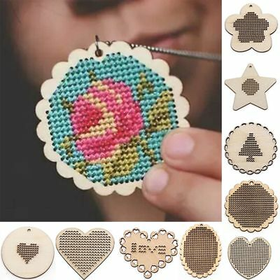 DIY Crafts Wooden Wood Key Ring Making Jewelry Pendant Cross Stitch Embroidery