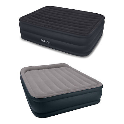 Intex Queen Raised Airbed with Built-In Pump + Deluxe Pillow Rest Queen Airbed