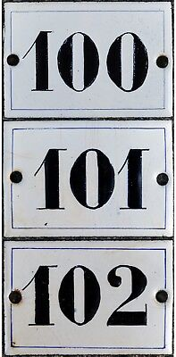 Old small black white French house number door room enamel sign 100 101 102