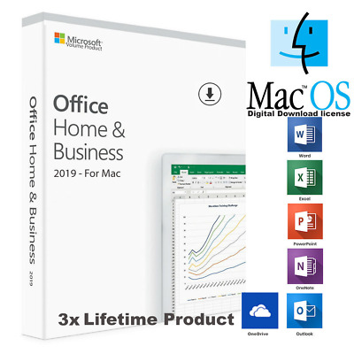 MS Microsoft Office 2019 Home and Business für 3x MAC ab MacOS 10.12 ..