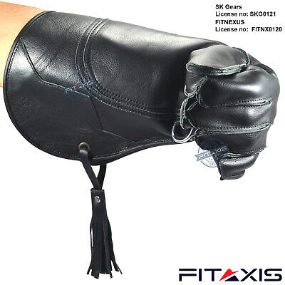 "FITAXIS Falconry and Eagle Nubuck Leather Shiny Black Gloves 16"" Long Branded"