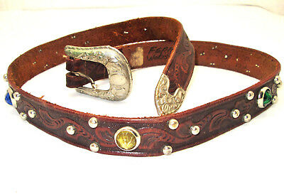 """Vintage """"RANCH LIFE"""" Jeweled Studded Tooled LEATHER Western WOMENS 33"""" BELT"""