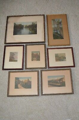 Lot of 7 Vintage Wallace Nutting Hand Colored and Signed Photos