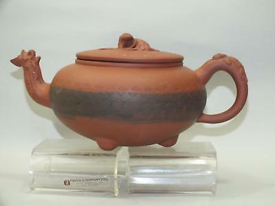 (a) A CHINESE YIXING RED POTTERY TEA-POT WITH INCISED BODY & LIZARDS DECOR 19thC