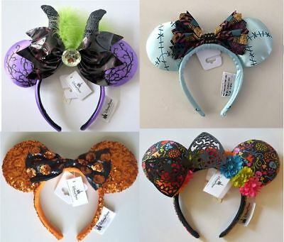 Disney Parks 4 Halloween Ears Headbands Maleficent Coco Sally & Halloween NWT