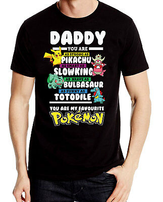 Daddy Pokemon Fathers Day Gift Cartoon Dad T shirt Novelty TV Movie