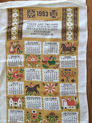 Vintage 1983 Linen Calendar Kitchen Towel There Are Two Days