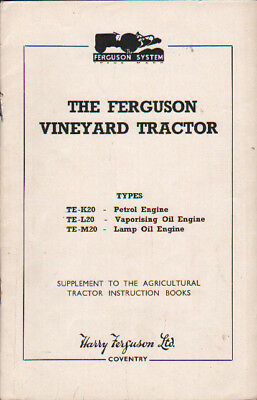 Original Ferguson Vineyard Tractor Supplement Operator Instruction Book Manual