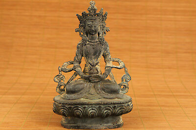 Big bronze Old  kwan-yin buddha Statue figure blessing table Green Tara