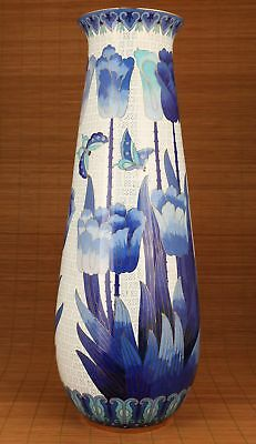 Rrae Big Chinese Cloisonne Hand Carved Orchid Statue Vase