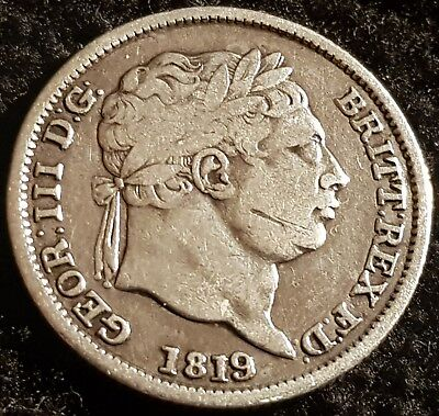 1819 George III .925 Silver British Shilling Coin - Laureate Bust Lot 1