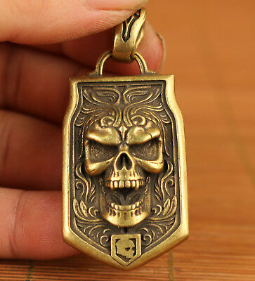 Cool Chinese Old Bronze Hand Carved Skull Statue Pendant netsuke Noble gift