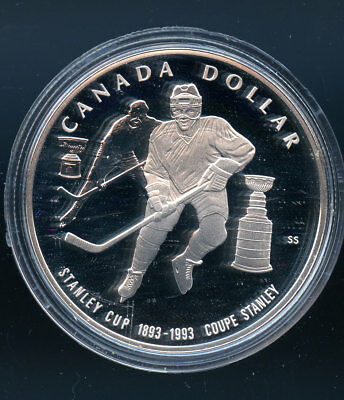 1893 -1993 Proof $1 100th Ann Stanley Cup .925 Silver Dollar COIN ONLY H92a