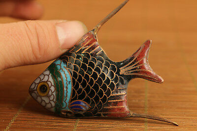 rare Chinese Old Enamel Cloisonne fish figure Statue home decoration