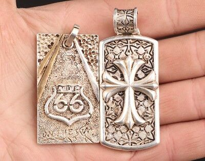 2 Vintage China Tibet Silver Pendant Fashion Cross Decoration Gift Collection