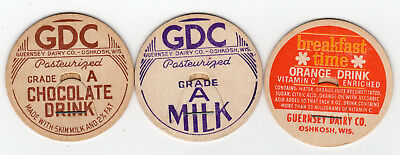 Lot Of 3 Guernsey Dairy Co Oshkosh Wi  Different Milk Bottle Caps Wisconsin