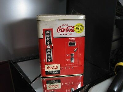 "Large Coke Machine Shaped Tin Container 8.25"" H X 6"" L X 3.5"" W  Sealed"