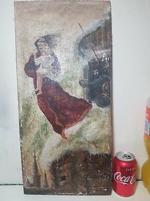 Very old antique Russian oil Painting snow winter scene war The Huns myth story
