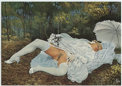 ASLAN CP PIN-UP COUL. 2ème SÉRIE n°15 SIESTE NUPTIALE 1992 GIRL FILLE PIN-UP