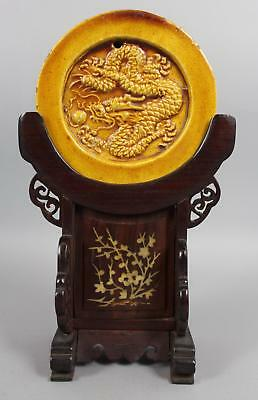 Antique Ancient Imperial 5-Claw Dragon Chinese Pottery Yellow Palace Roof Tile