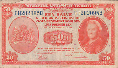 Netherlands Indies Banknote - 50 Cent from 1953