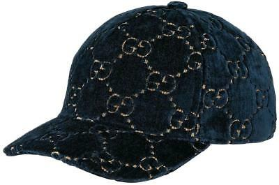 f18c9829 New Gucci Current Sapphire Velvet Gg Classic Baseball Cap Hat 57/Medium  Unisex