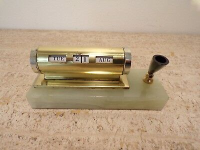 Vintage Onyx? marble brass Perptual Desk Calendar with  pen holder 291