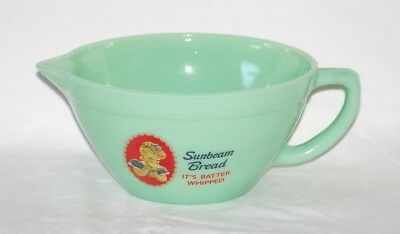 JADEITE GREEN GLASS SUNBEAM BREAD ADVERTISING BATTER PITCHER with POUR SPOUT