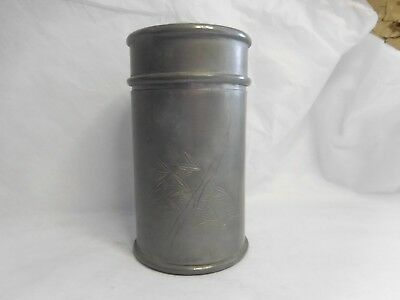 Chinese Pewter Tea Caddy Yee Kee Swatow Bamboo Decoration