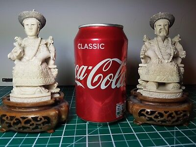 Vintage Chinese Quality hand carved resin emperor empress Figurines Statues