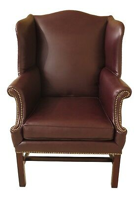 46712EC: Burgundy Leather Chippendale Style Wing Back Chair