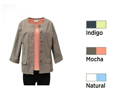 Stretch Chambray Jacket And Top Set Plus /& Reg Sizes 240530A-RM NEW DENIM /& CO