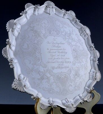 Very Rare Large 1756 Ebenezer Coker Georgian Sterling Silver Footed Serving Tray