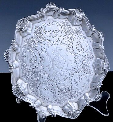 Rare1762 Richard Rugg Georgian Sterling Silver Crown Armorial Footed Salver Tray